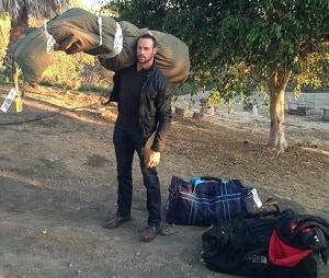 Gabe with luggage
