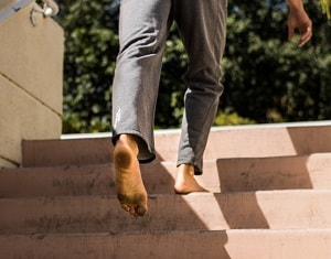 Gabe barefoot