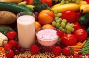 Milk, fruit, and veggies