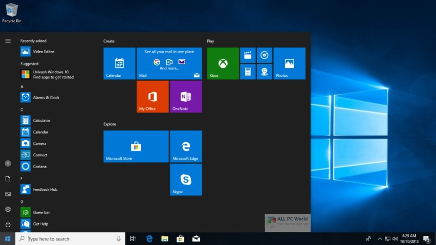 Windows 10 Pro Rs5 Octubre de 2018