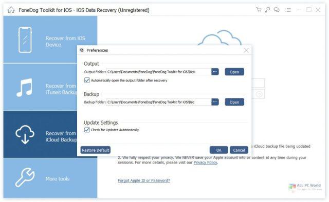 FoneDog Toolkit para iOS 2.1 Descarga con un clic