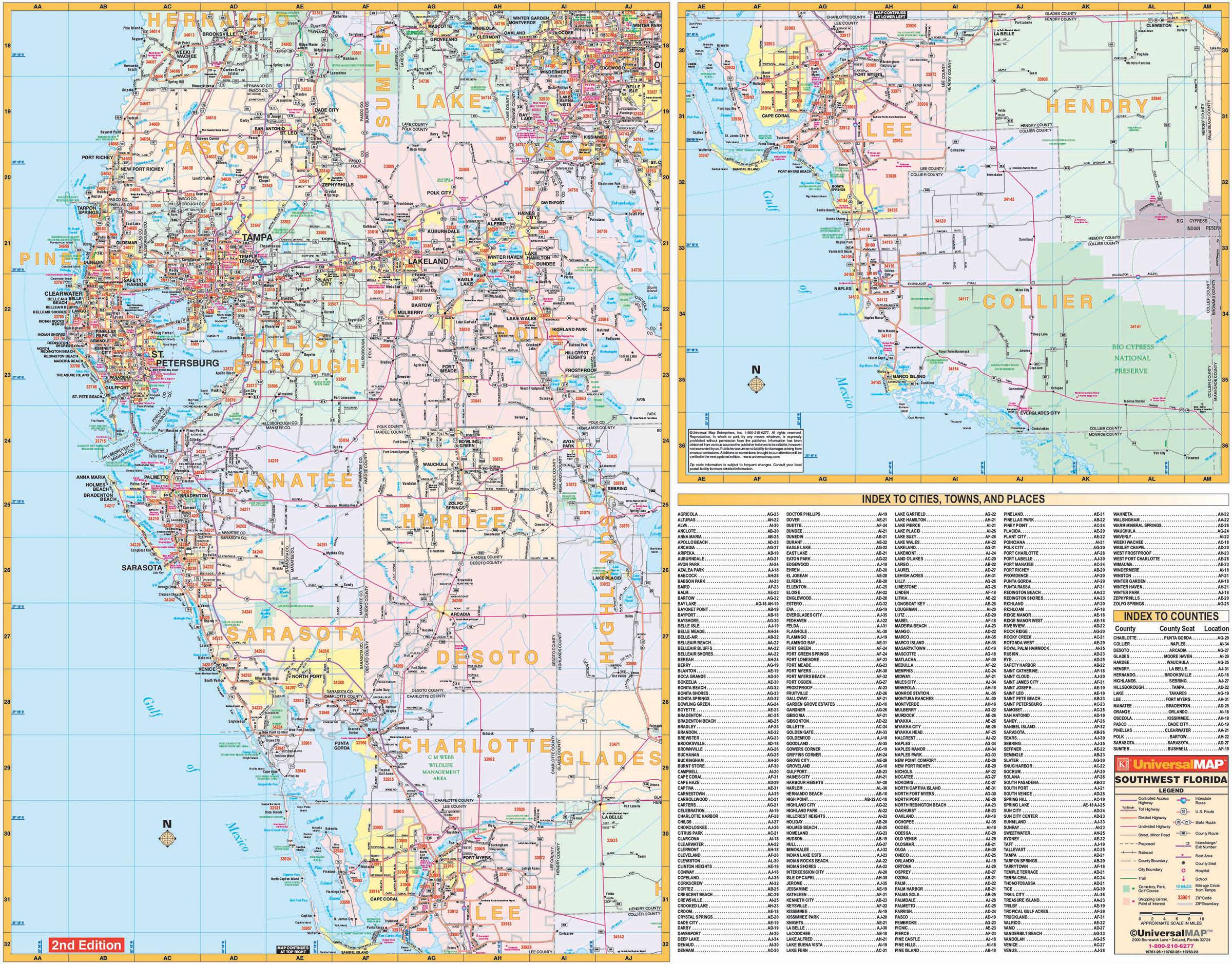 Florida State Southwest Regional Wall Map Kappa Map Group