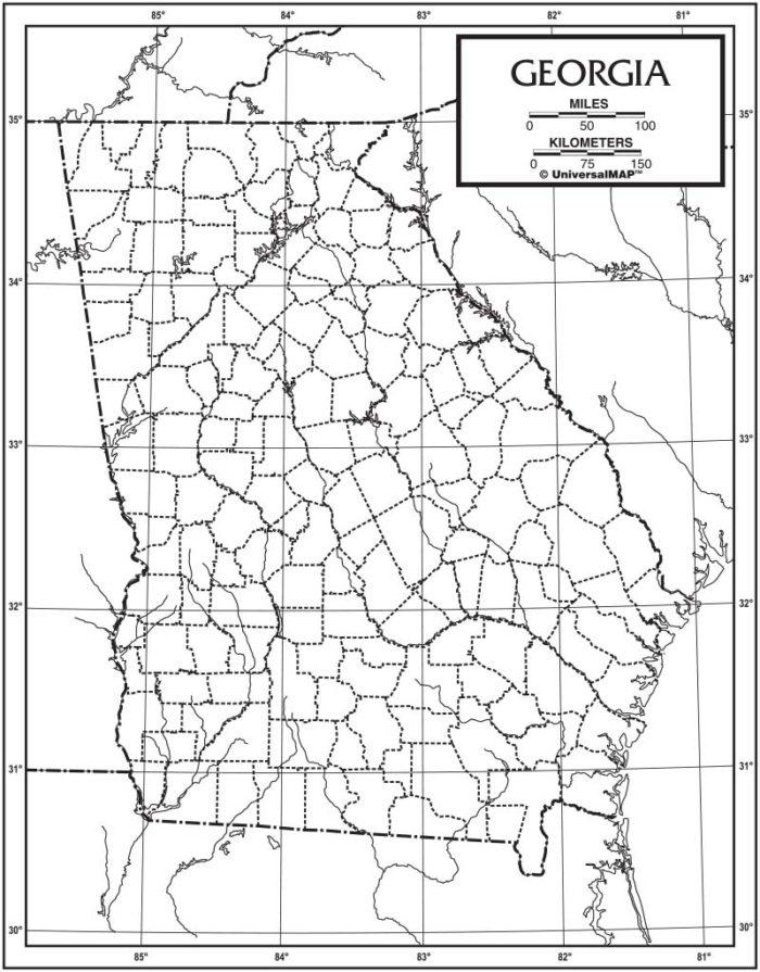 Georgia Outline Map 50 Pack