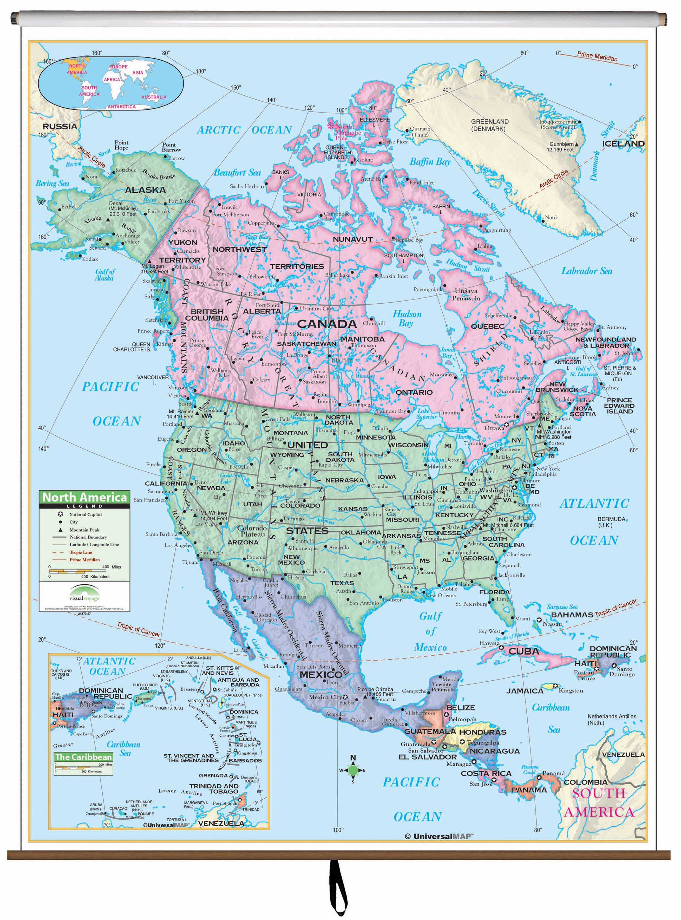 North America Primary Classroom Wall Map Kappa Map Group