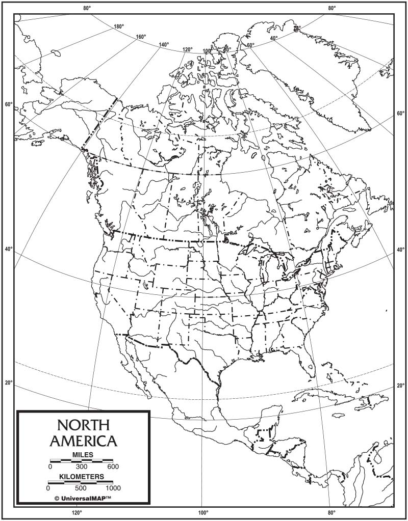 North America Outline Map 50 Pack