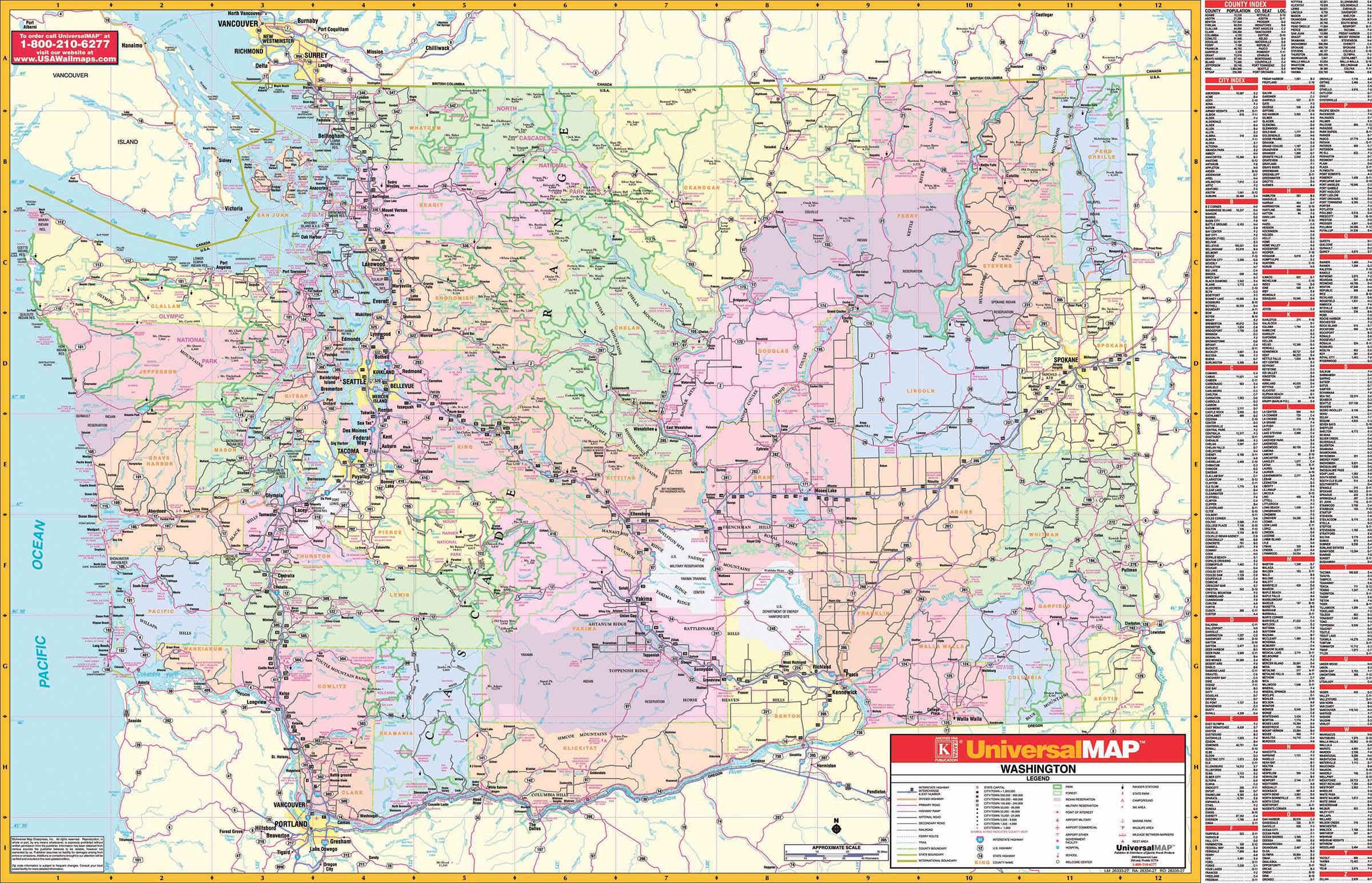 Washington State Wall Map Kappa Map Group