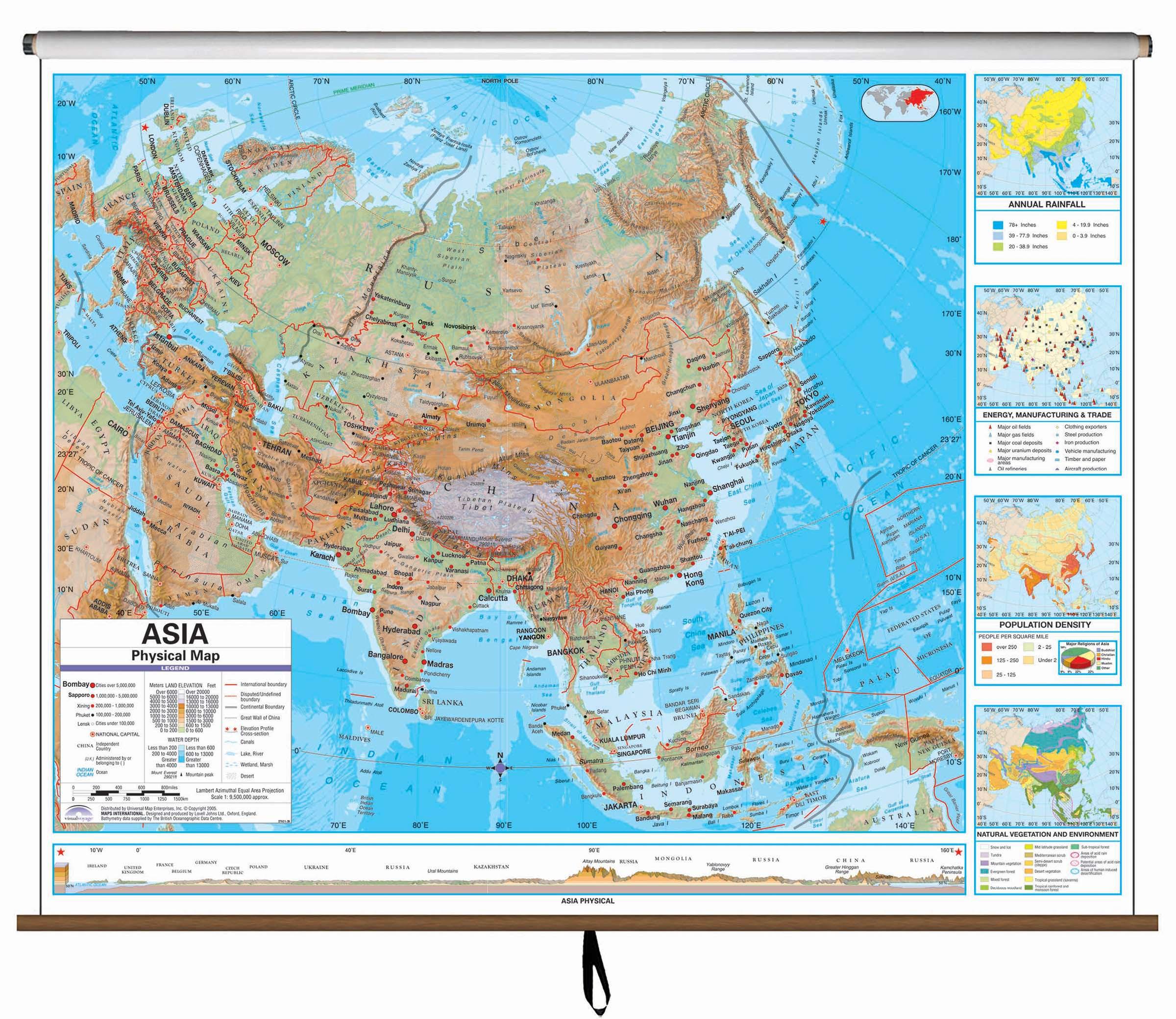 Asia Advanced Physical Classroom Wall Map Kappa Map Group