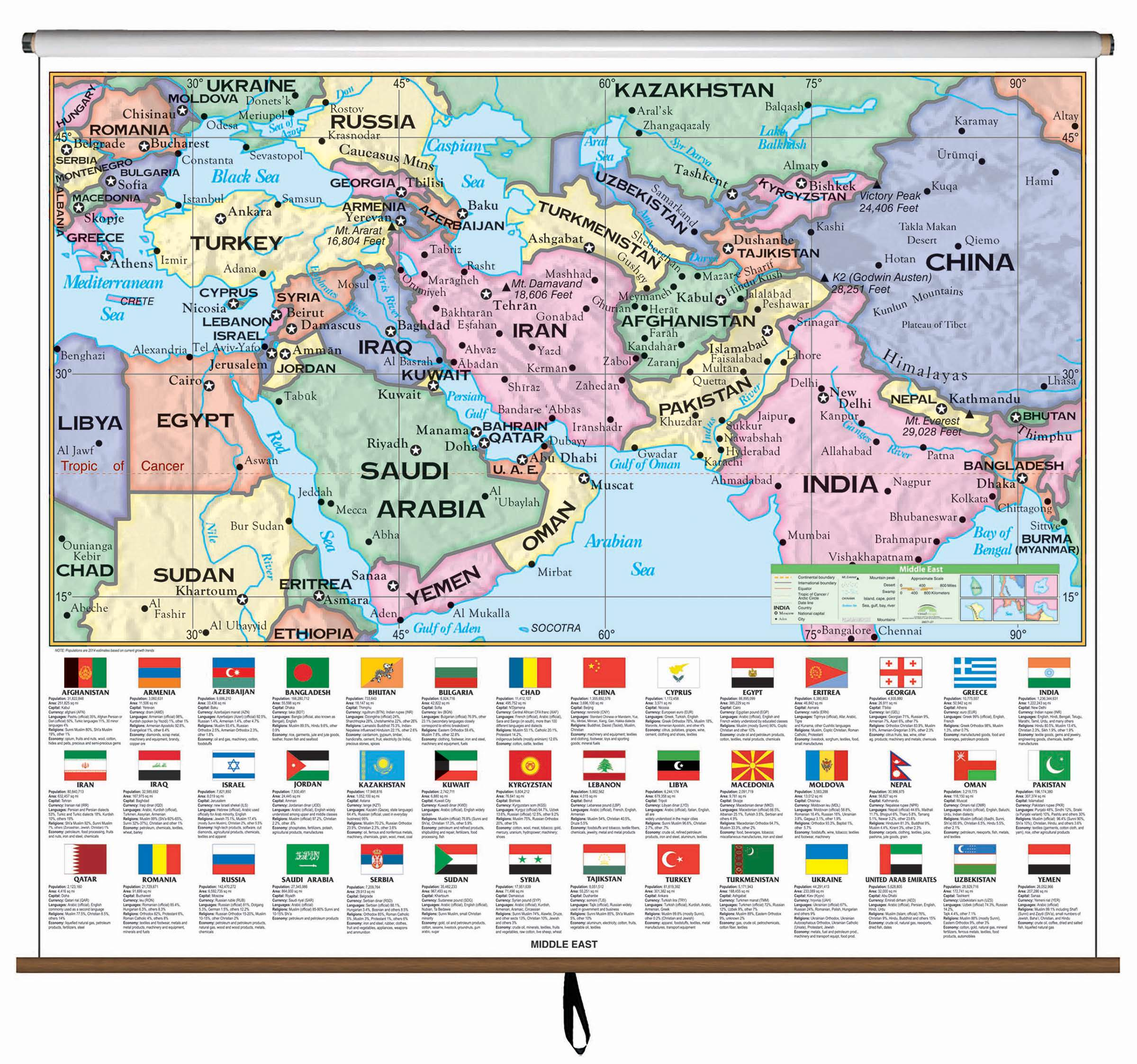 Middle East Essential Classroom Wall Map Kappa Map Group