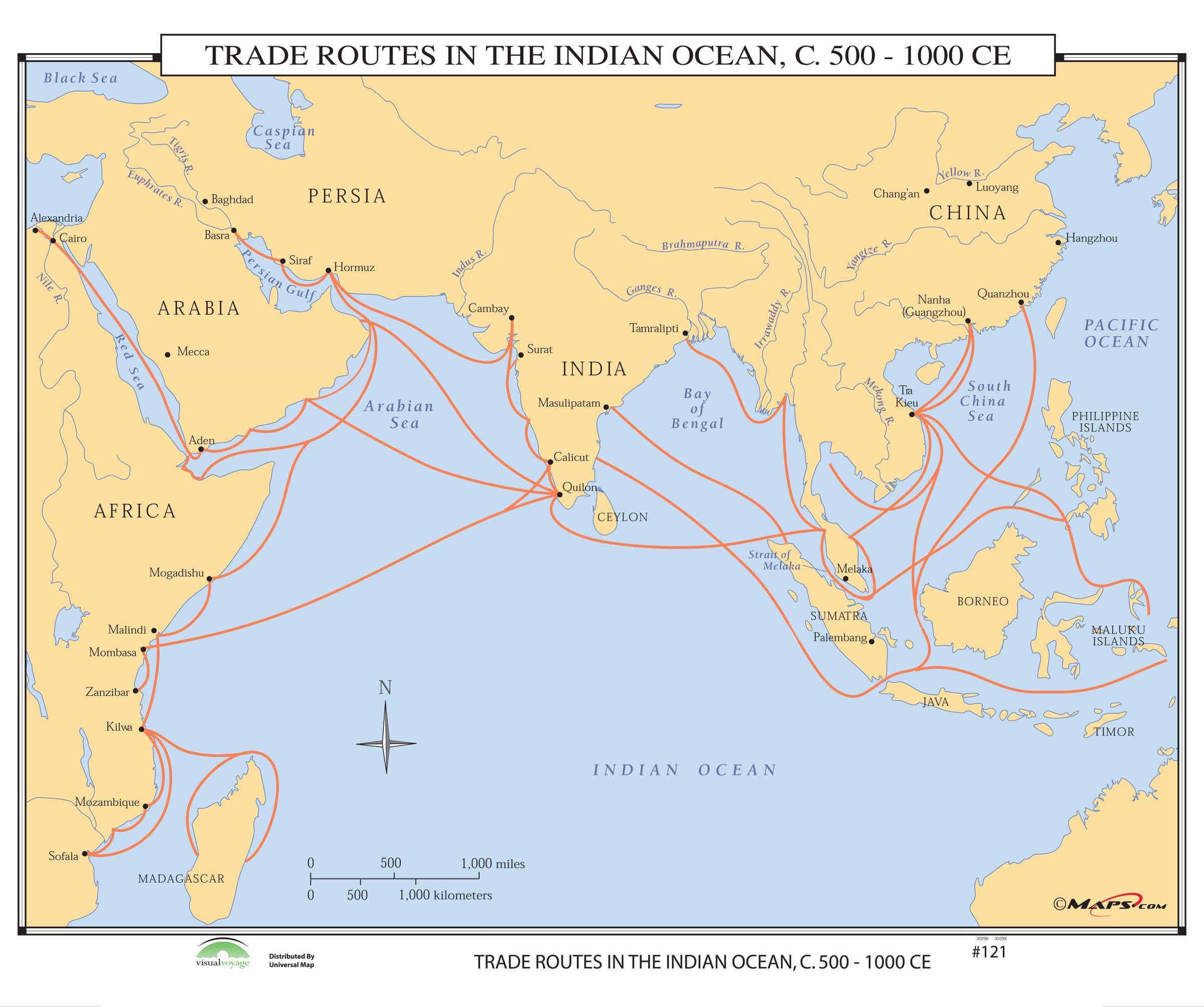 121 Trade Routes In The Indian Ocean 500 Ce Kappa