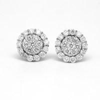 White Gold Diamond Stud Earrings 18ct White Gold Diamond ...