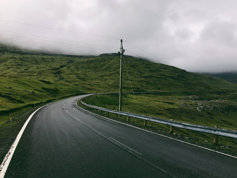 This is the green scenic road number 50, veering left away from Torshavn.