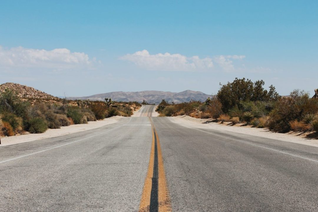 A long stretch of road at Joshua Tree National Park