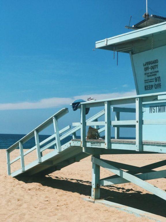 A blue surf hut or lifesaving hut on Venice Beach