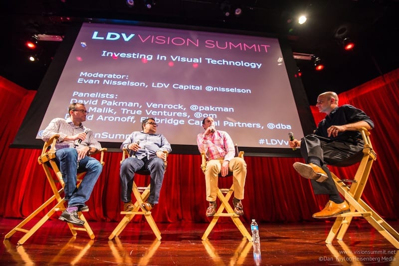 [L-R] David Aronoff, Flybridge Ventures; Om Malik, True Ventures; David Pakman, Ventrock; Evan Nisselson, LDV Capital. ©Dan Taylor/Heisenberg Media