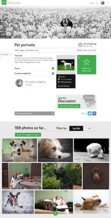 An example of a PhotoCrowd contest page