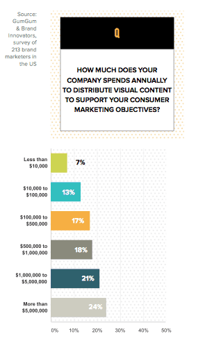 How much does your company spends annually to distribute visual content