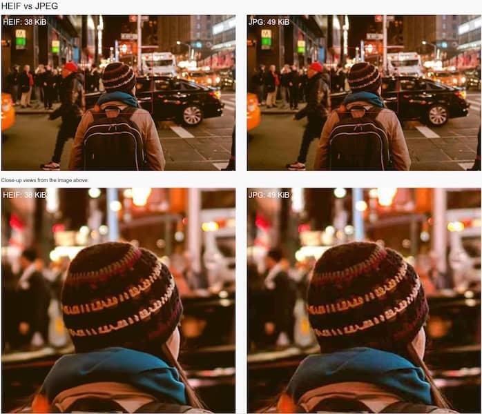 HEIF vs JPEG comparison ©Nokia