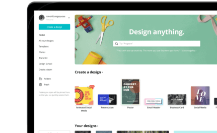 Home page of company Canva