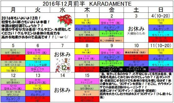 2016年12月前半スケジュール