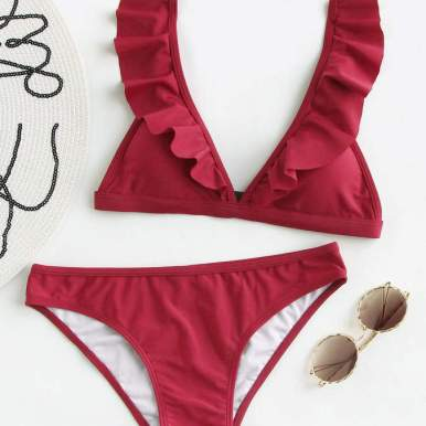 Ruffled Detail Strap Bikini Set
