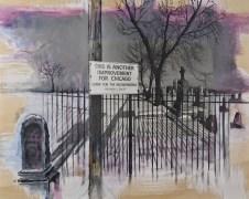 "Epilogue graphite, acrylic, silver gelatin print on wood panel, 20""x16"""