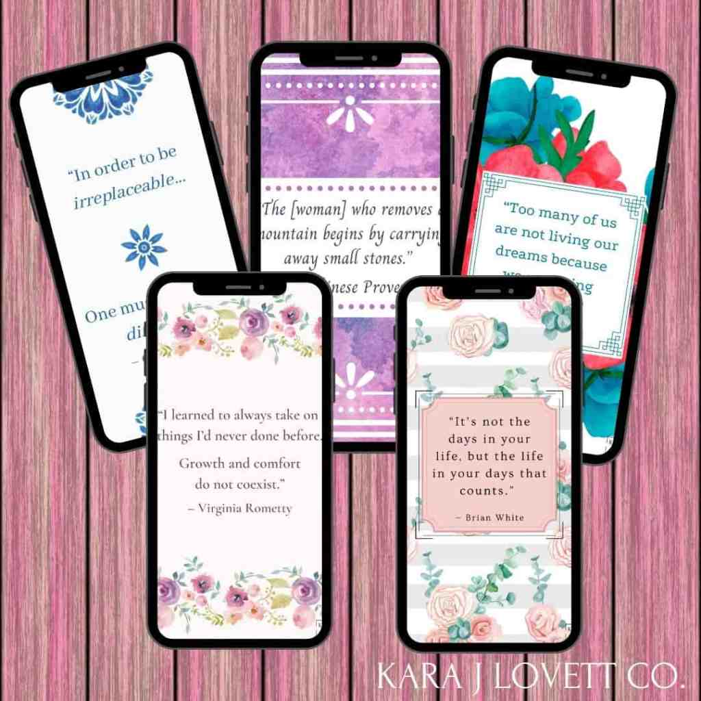 Mockup of all of the free screensavers with Career Woman Quotes from Kara J Lovett Co.