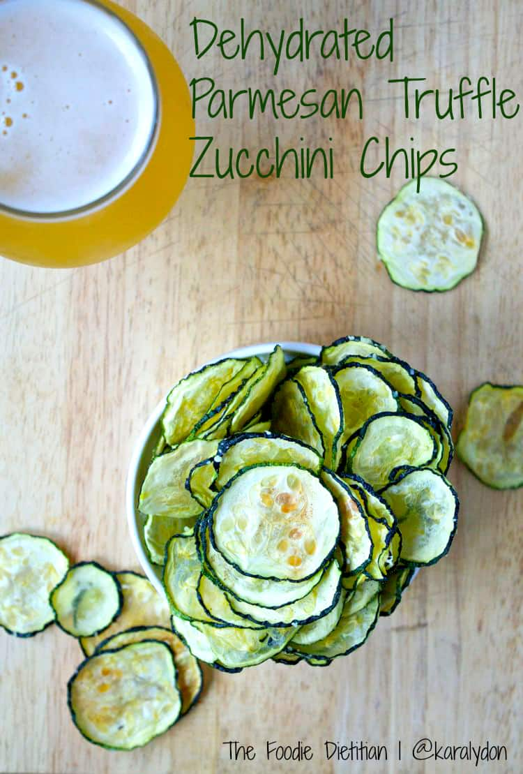 Dehydrated Parmesan Truffle Zucchini Chips | The Foodie Dietitian @karalydon