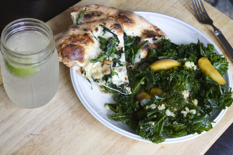 What The Foodie Dietitian Ate Wednesday: Broccoli Rabe Pizza & Kale Salad with Peaches & Corn   The Foodie Dietitian @karalydon