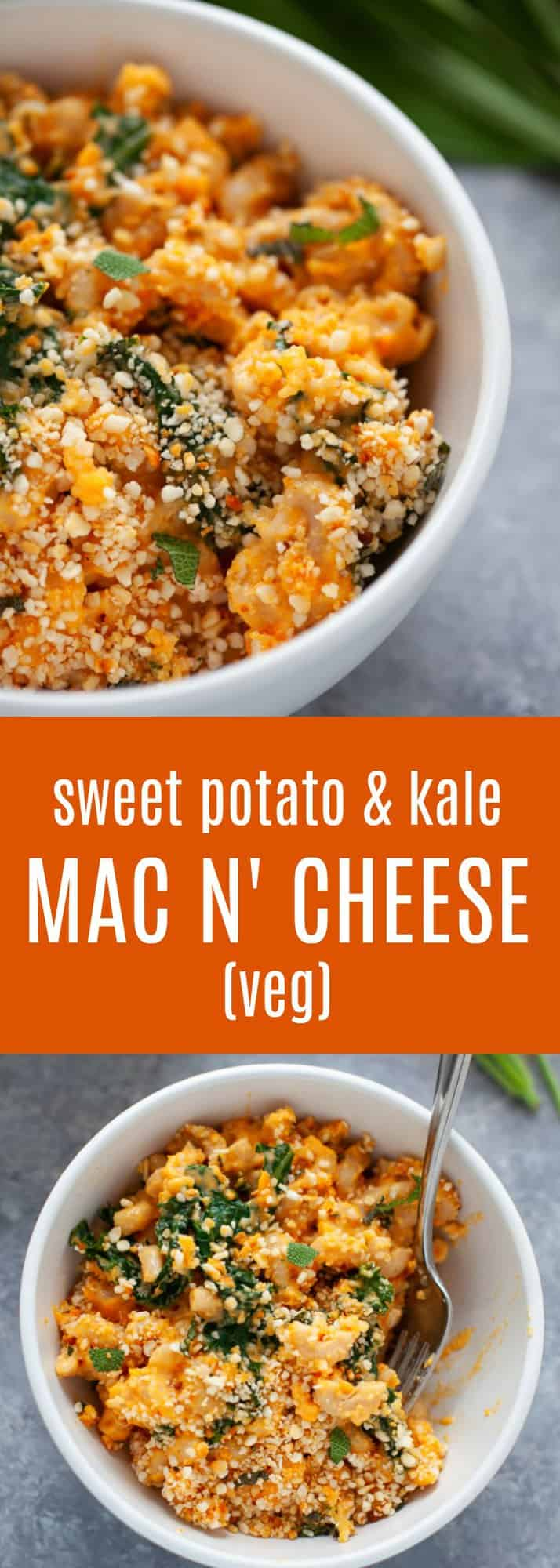 An inspired and elevated classic comfort food staple, this sweet potato mac and cheese with kale is packed with the sweet tasteof sweet potato and the earthy, savory flavor of sage. Plus, the added veggies help make this a more balanced pasta dish! #macandcheese #sweetpotato #fall #vegetarian #healthy