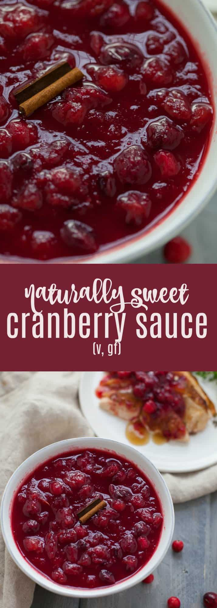 This delicious naturally sweetened cranberry sauce is sweetened using natural ingredients like applesauce and orange juice and has 2/3 less added sugar than most recipes.