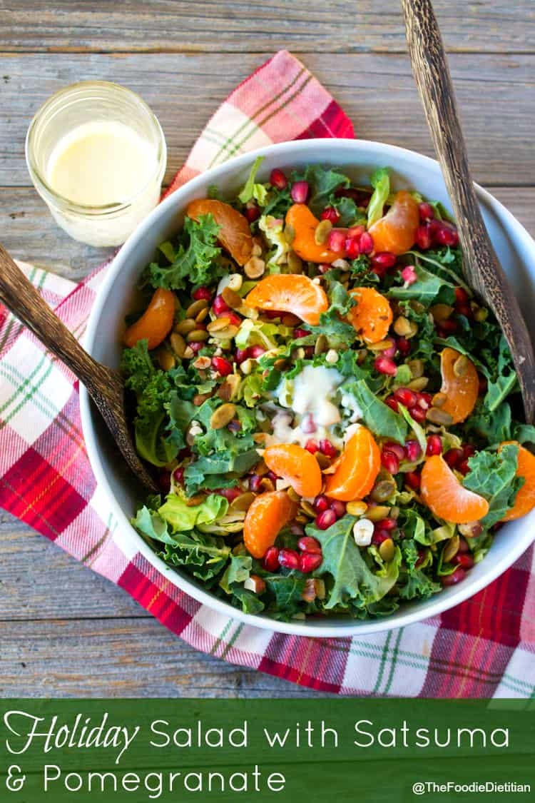 A colorful, festive holiday salad with satsuma and pomegranate to include on your holiday menu. Seasonal sweet satsumas and bright red, juicy pomegranate seeds take center stage while a creamy citrus Greek yogurt dressing seals the deal. | @TheFoodieDietitian