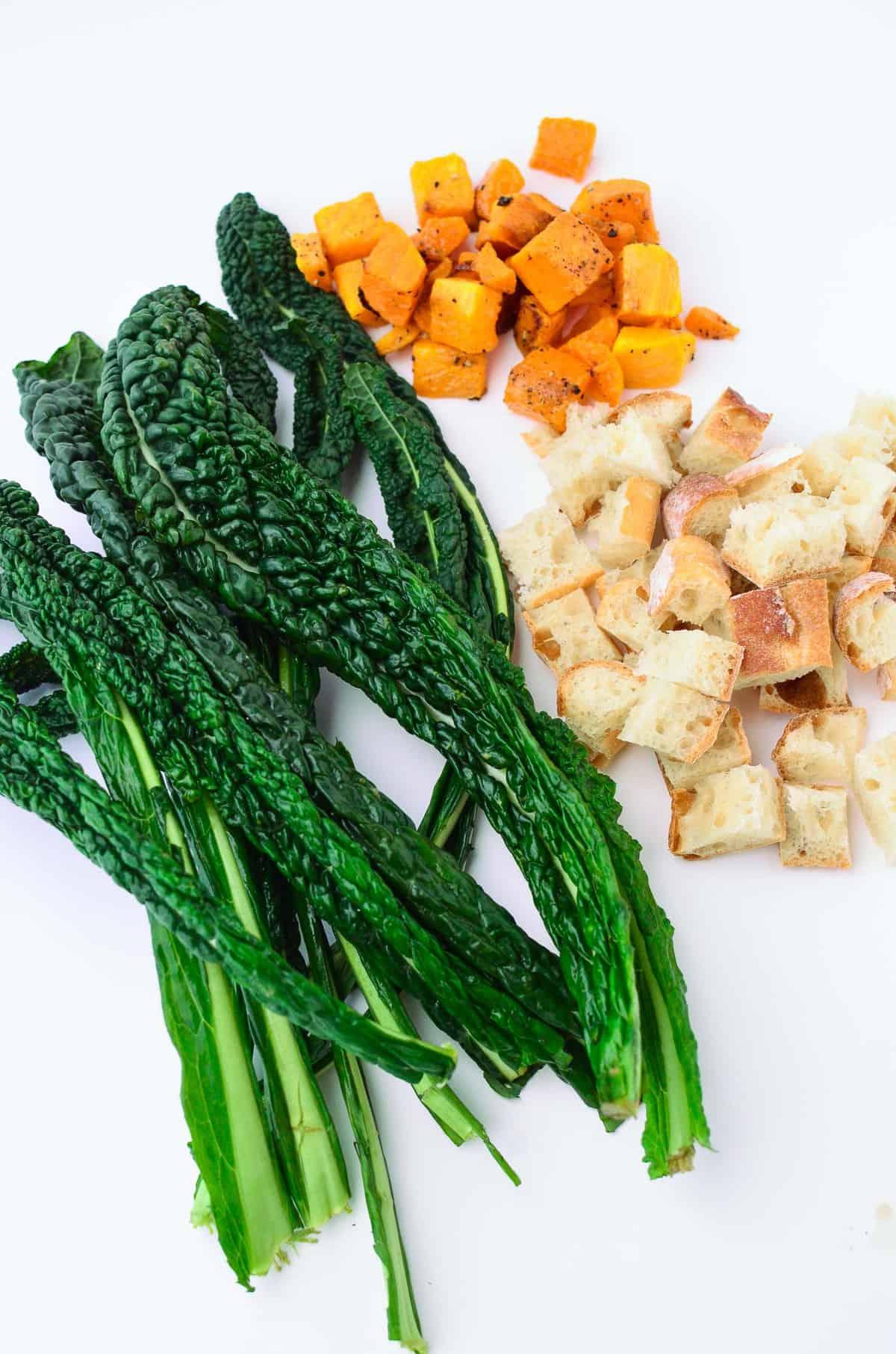 kale butternut squash panzanella salad