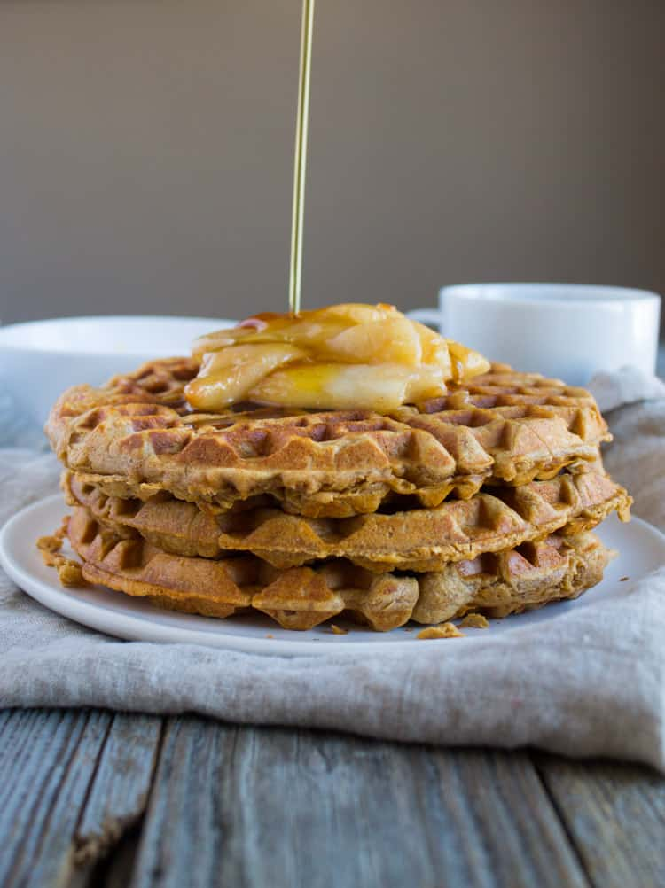 Chai Waffles with Sauteed Pears | @TheFoodieDietitian