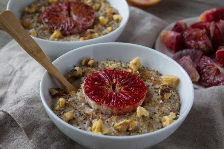 Roasted Blood Orange Oatmeal | @TheFoodieDietitian