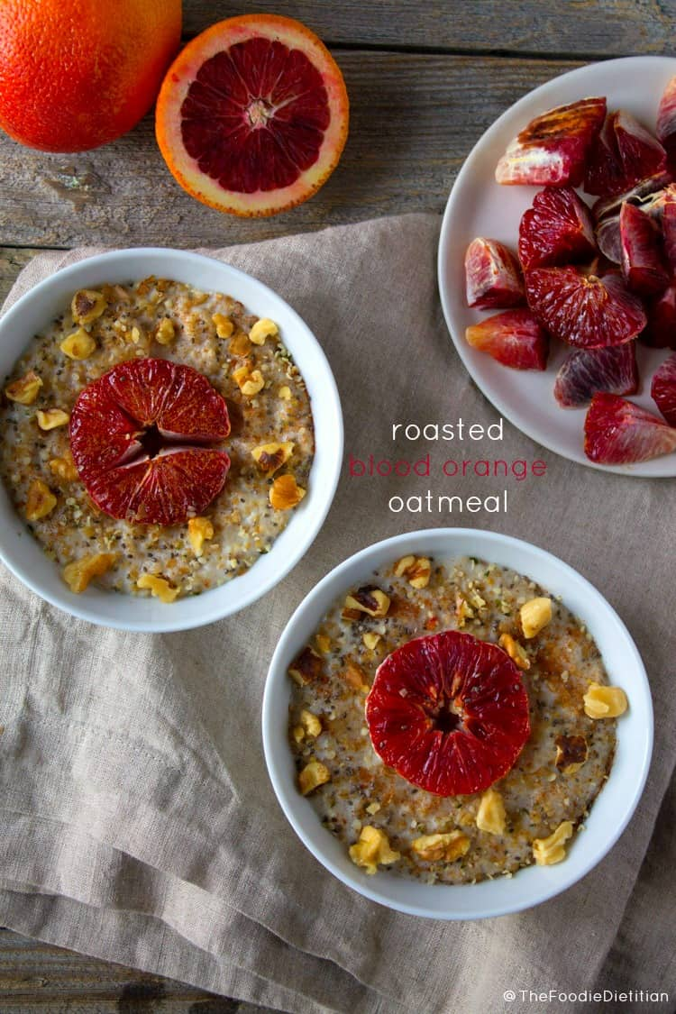 A hearty breakfast that's almost too pretty to eat! Roasted blood orange oatmeal is sweet, tart, and satisfying - perfect for a winter's morning! | @TheFoodieDietitian