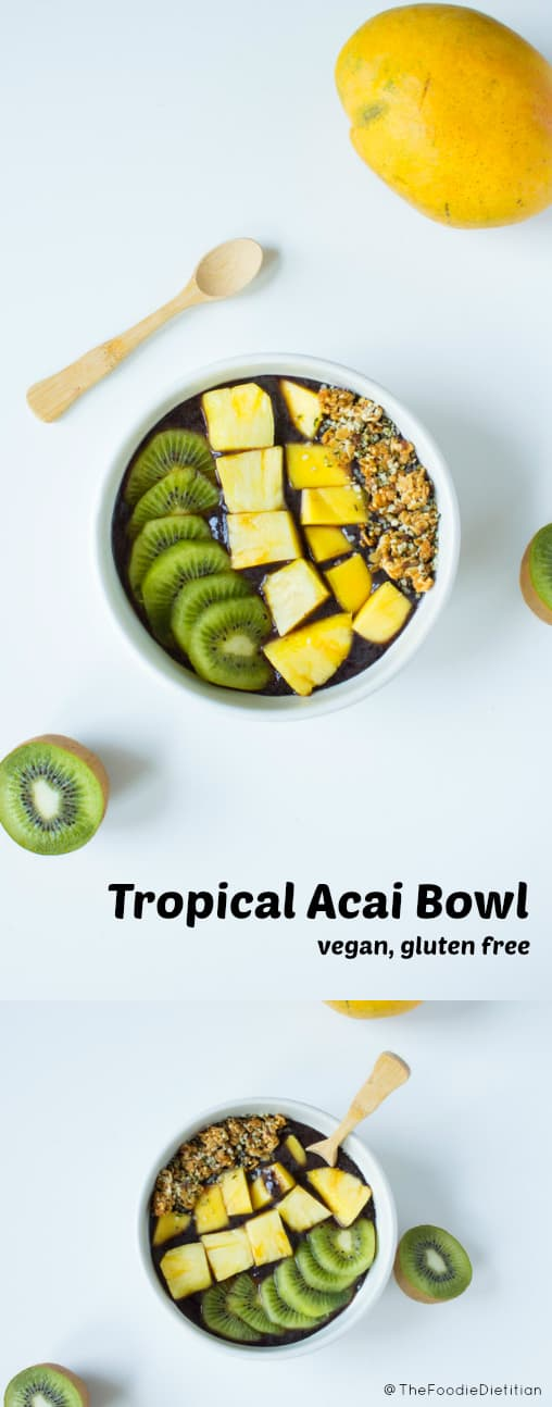 Skip the Caribbean vacation. This tropical acai bowl, packed with antioxidants, will make you feel as if you've transported yourself to a tropical island. | @TheFoodieDietitian