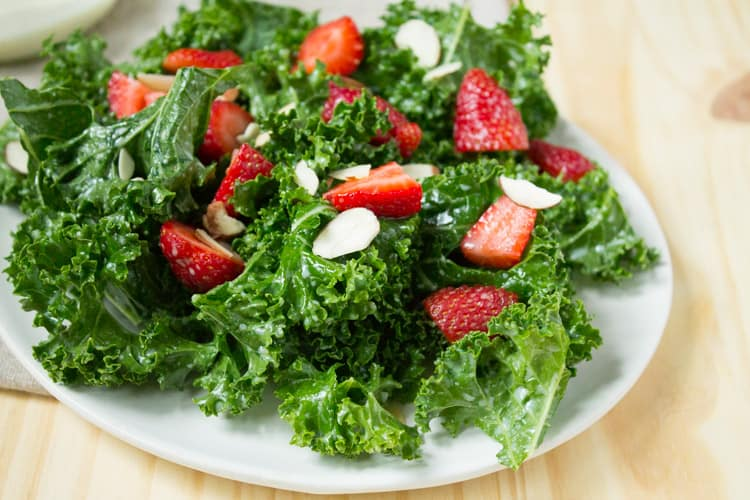 Kale and Strawberry Salad with Kefir Dressing 250-9