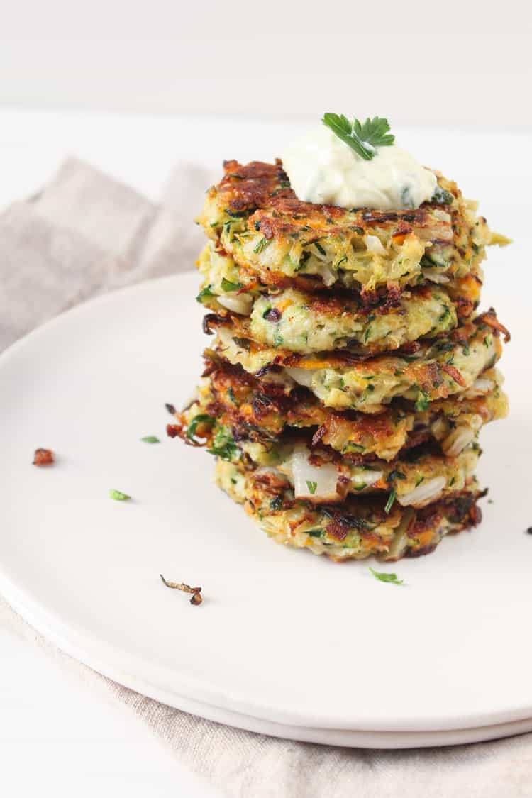 Zucchini Kohlrabi Spring Onion Fritters| @karalydon