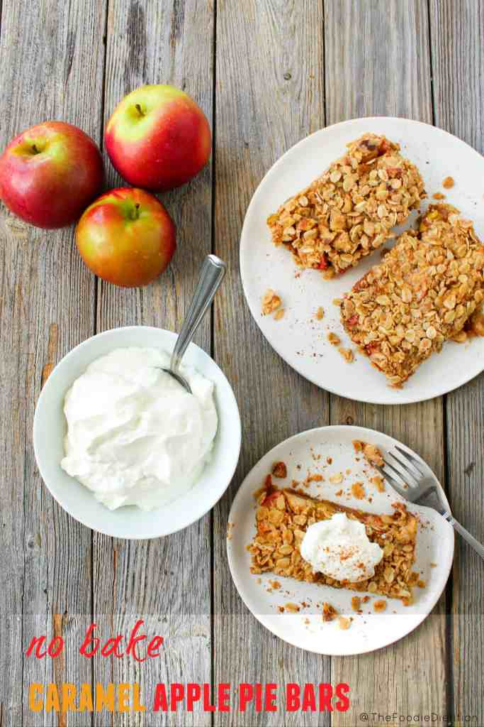 No Bake Caramel Apple Pie Bars are dairy-free and vegan, and made with (mostly) naturally occurring sugars from the dates. Healthy enough for breakfast or dessert!
