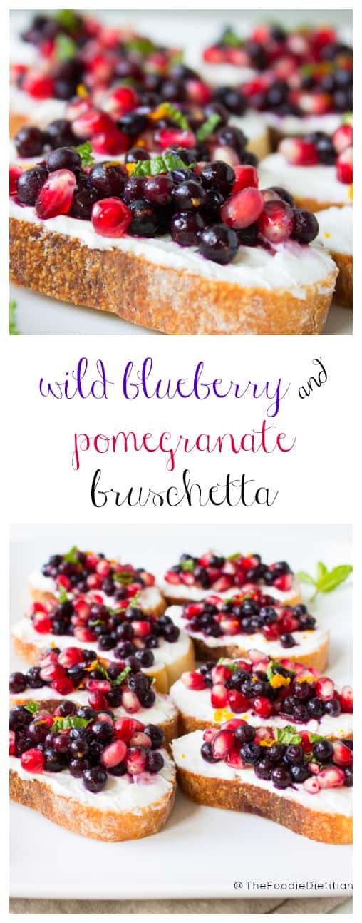 A festive appetizer for the holidays – wild blueberry and pomegranate bruschetta is sure to wow your guests with its vibrant seasonal flavors and colorful appearance.