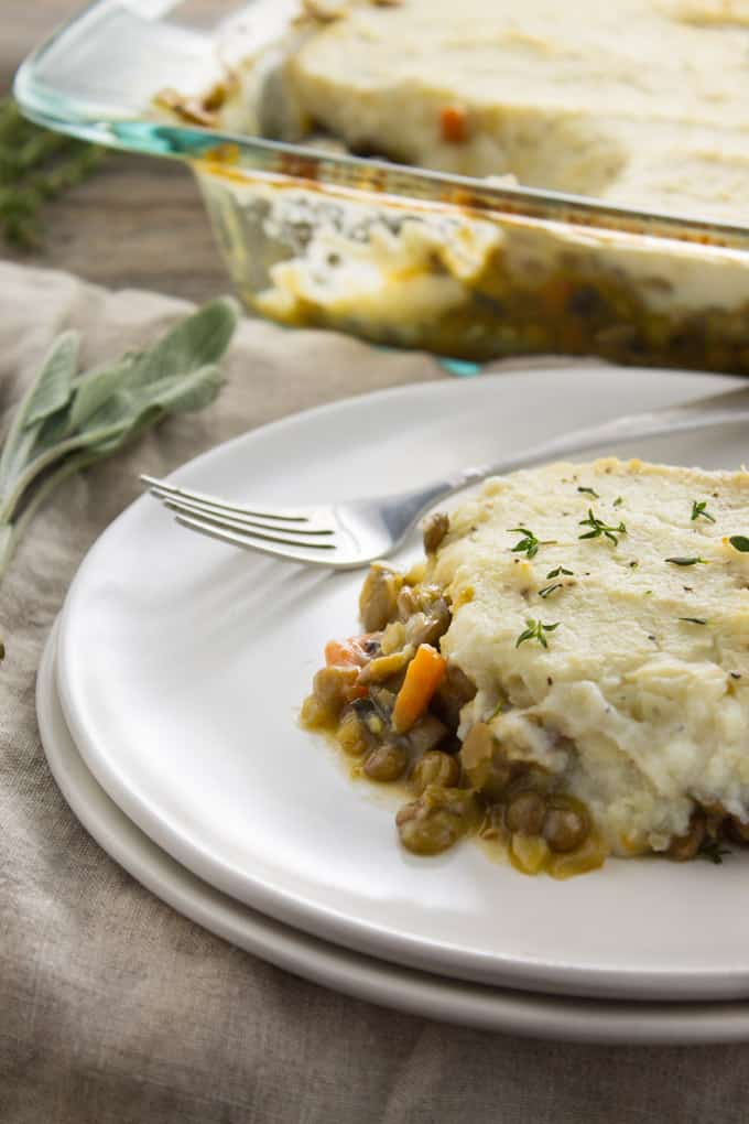 Vegan Shepherd's Pie with Mashed Cauliflower - The Foodie Dietitian