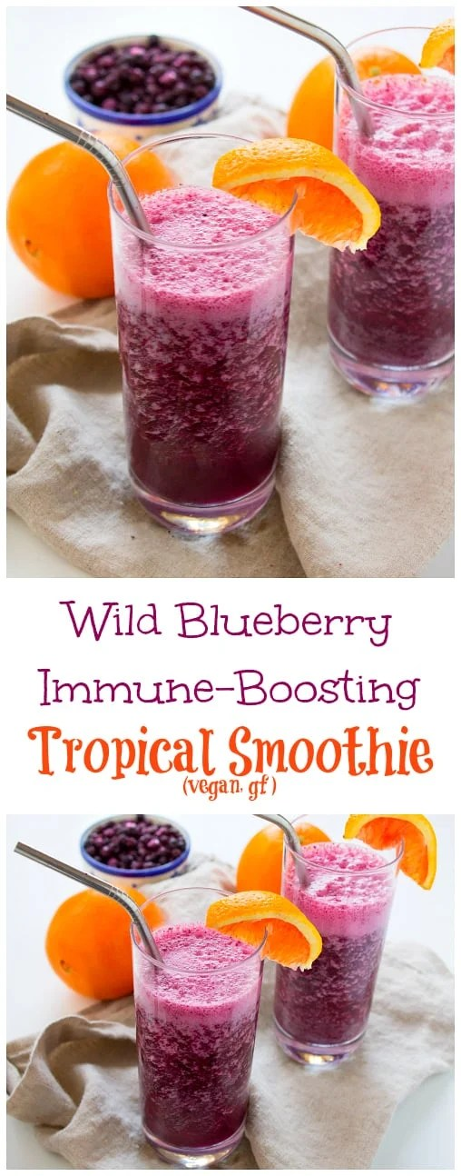 Sweet and refreshing with just a hint of spicy, this Wild Blueberry Immune-Boosting Smoothie is perfect all year round but especially comes in handy during cold and flu season.