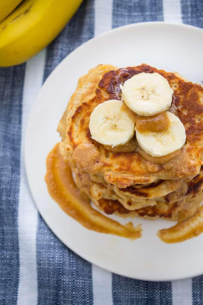 Whole Wheat Peanut Butter Banana Kefir Pancakes