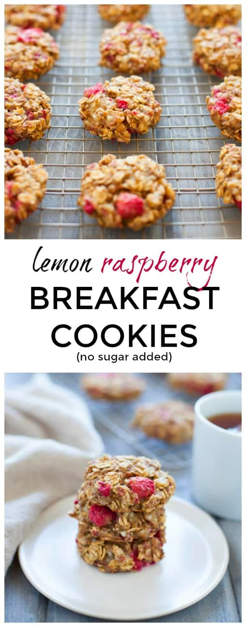 My new favorite healthy breakfast on-the-go! These naturally sweet lemon raspberry breakfast cookies are packed with protein, fiber and antioxidants to start your morning off right!