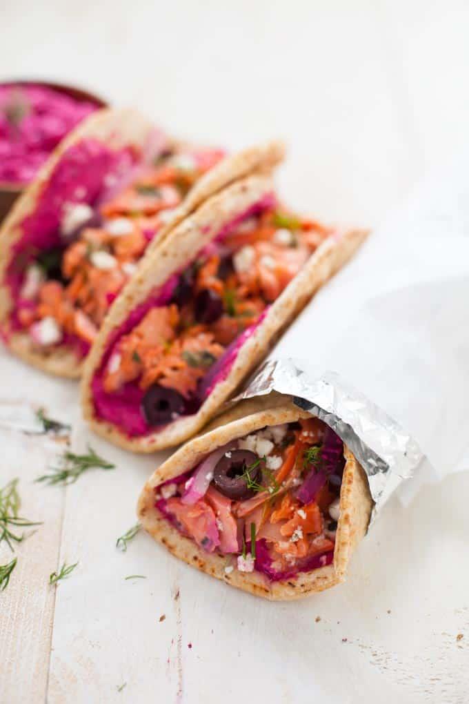 greek salmon gyros with beet tzatziki