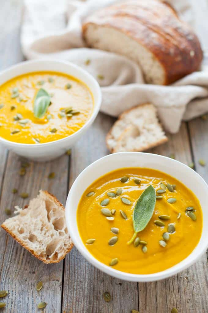 Turmeric Pumpkin Soup (with white beans!)