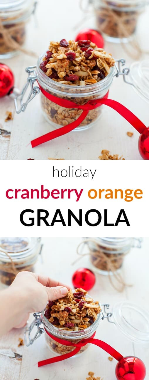 Looking for some last minute holiday DIY food gifts? This holiday cranberry orange granola is festive and flavorful and packs perfectly into mason jars for gifts.