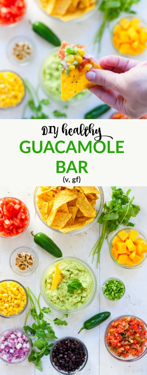 Wow your friends at your Super Bowl party with a DIY healthy guacamole bar. It's super easy to set up and totally delicious.