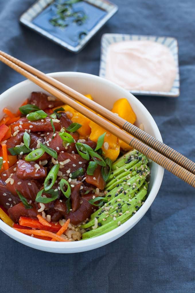 Spicy Salmon and Avocado Poke Bowl