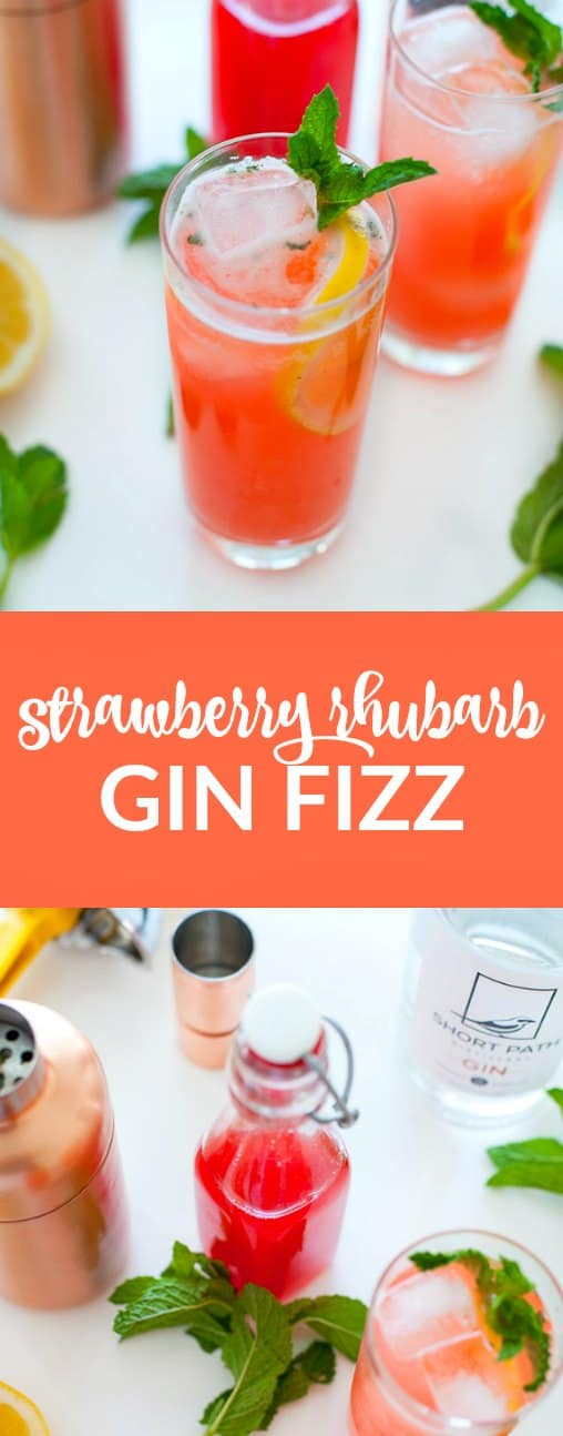 This strawberry rhubarb gin fizz is bright, refreshing and super seasonal. Make this cocktail for your next spring gathering or just for a fun Friday night happy hour.